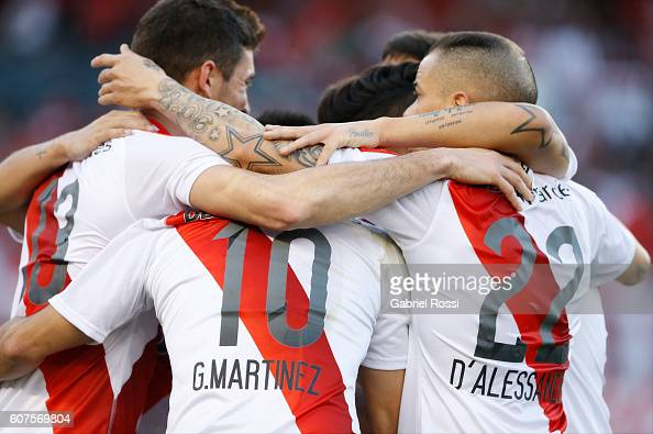 Lucas Alario of River Plate celebrates with teammates after scoring the opening goal during a match between River Plate and San Martin as part of...
