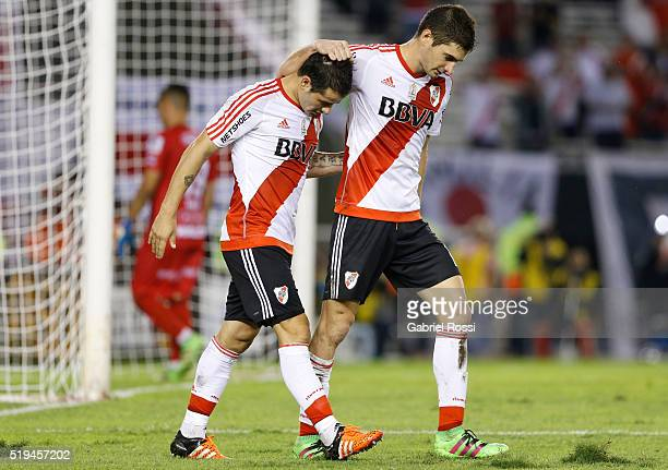 Lucas Alario of River Plate celebrates with teammates Rodrigo Mora after scoring the fifth goal of his team during a match between River Plate and...