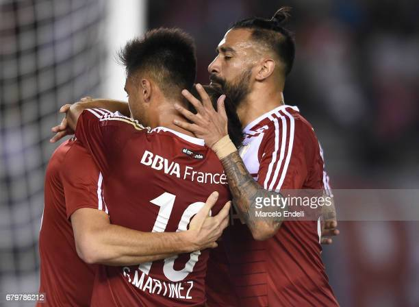 Lucas Alario of River Plate celebrates with teammates the second goal of his team during a match between River Plate and Temperley as part of Torneo...
