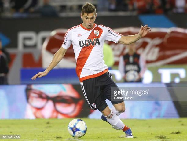 Lucas Alario of River Plate drives the ball during a match between River Plate and Sarmiento as part of Torneo Primera Division 2016/17 at Monumental...
