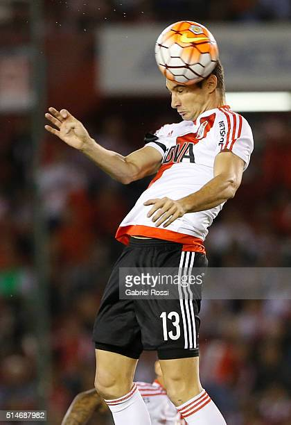 Lucas Alario of River Plate heads the ball during a match between River Plate and Sao Paulo as part of Group 1 of Copa Bridgestone Libertadores 2016...