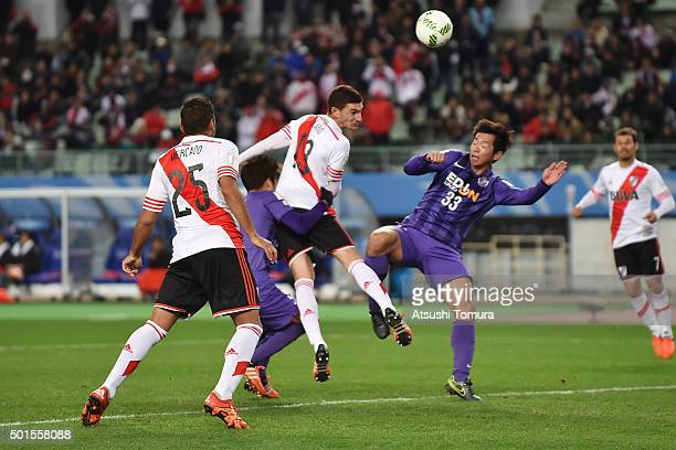 Lucas Alario of River Plate heads to score the opening goal during the FIFA Club World Cup semi final match between Sanfrecce Hiroshima and River...