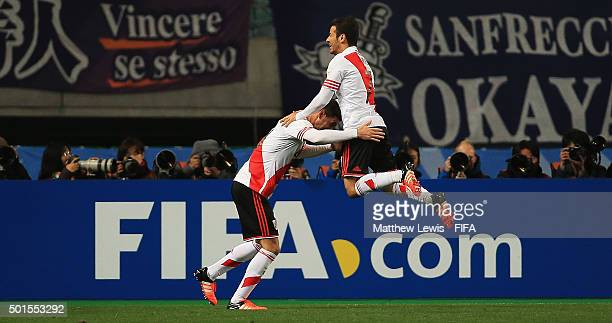 Lucas Alario of River Plate is congratulated on his goal by Rodrigo Mora during the FIFA Club World Cup Semi Final match between Sanfrecce Hiroshima...