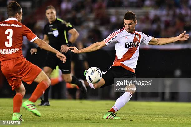 Lucas Alario of River Plate kicks the ball during a match between River Plate and Independiente as part of fifth round of Torneo Transicion 2016 at...