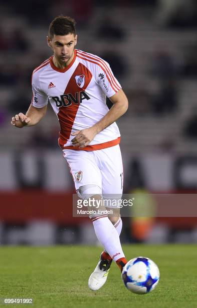 Lucas Alario of River Plate kicks the ball during a match between River Plate and Aldosivi as part of Torneo Primera Division 2016/17 at Monumental...