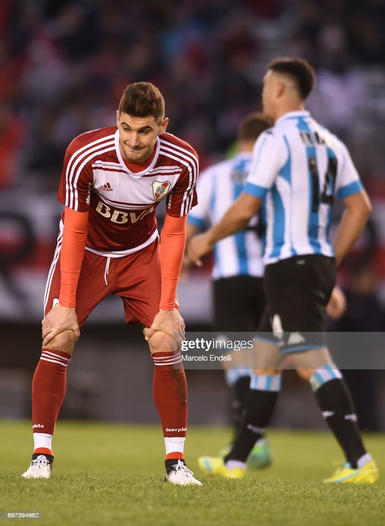 Lucas Alario of River Plate looks dejected during a match between River Plate and Racing Club as part of Torneo Primera Division 2016/17 at Monumental Stadium on June 18, 2017 in Buenos Aires, Argentina.