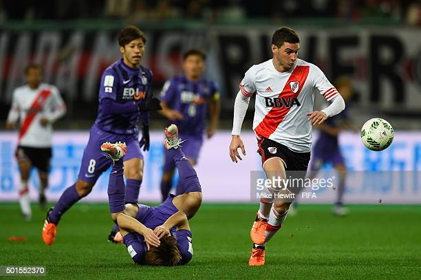 Lucas Alario of River Plate makes Club America breakbut is called back for foul play during the FIFA Club World Cup Japan 2015 Semi Final between...