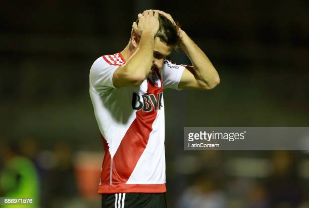 Lucas Alario of River Plate reacts during a match between Gimnasia y Esgrima La Plata and River Plate as part of Torneo Primera Division 2016/17 at...