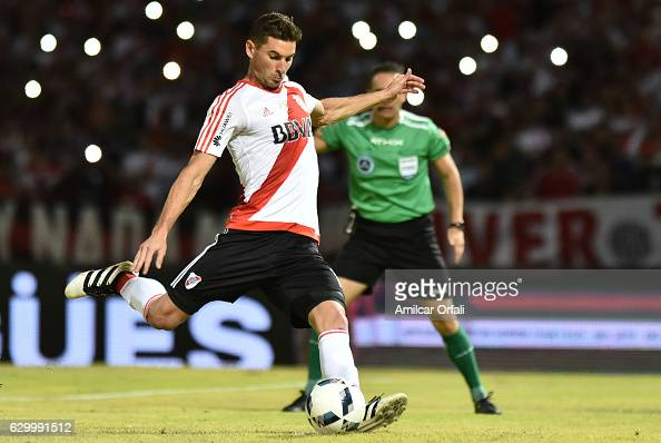 Lucas Alario of River Plate takes a penalty to score the first goal during a final match between River Plate and Rosario Central as part of Copa...