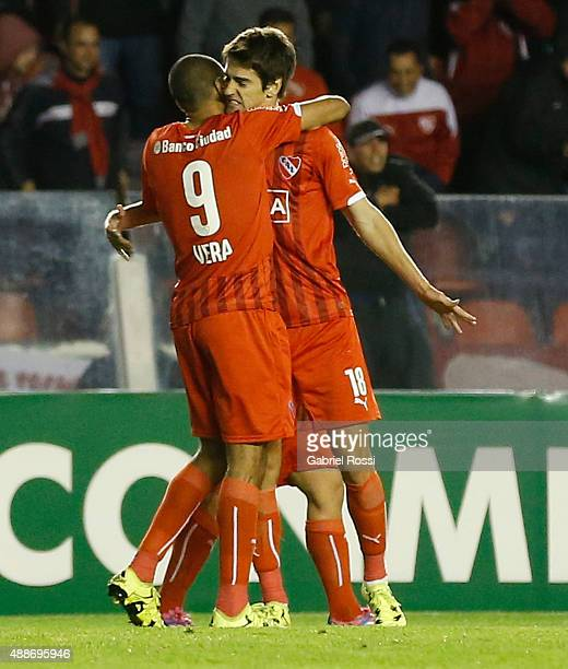 Lucas Albertengo of Independiente and teammates celebrate their team's first goal during a second leg match between Independiente and Arsenal FC as...