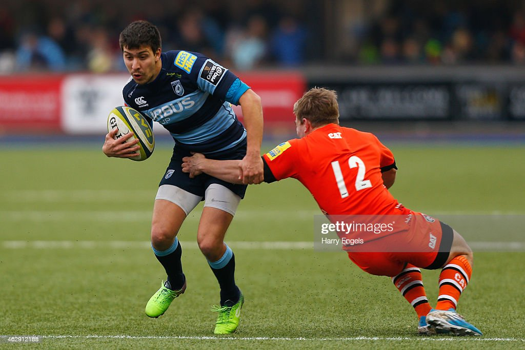 Lucas Amorosino of Cardiff is tackled by Jack Roberts of Leicester during the LV= Cup match between Cardiff Blues and Leicester Tigers at Cardiff Arms Park on February 7, 2015 in Cardiff, Wales.
