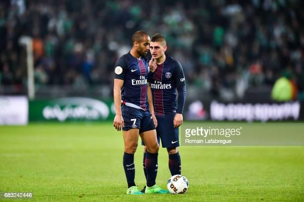 Lucas and Marco Verratti of Paris Saint Germain during the Ligue 1 match between AS Saint Etienne and Paris Saint Germain Saint Germain PSG at Stade...