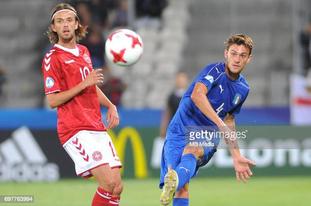 Lucas Andersen Daniele Rugani during the UEFA European Under21 match between Denmark and Italy at Cracovia stadium on June 18 2017 in Krakow Poland