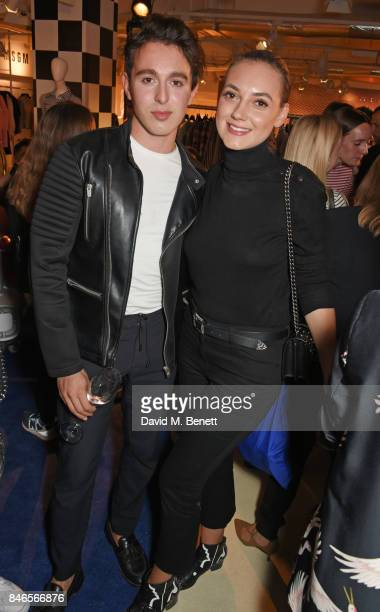 Lucas Andrei and Andreea Cristea attend the launch of the House of Holland x Woody Woodpecker London Fashion Week pop up at Fenwick Of Bond Street on...