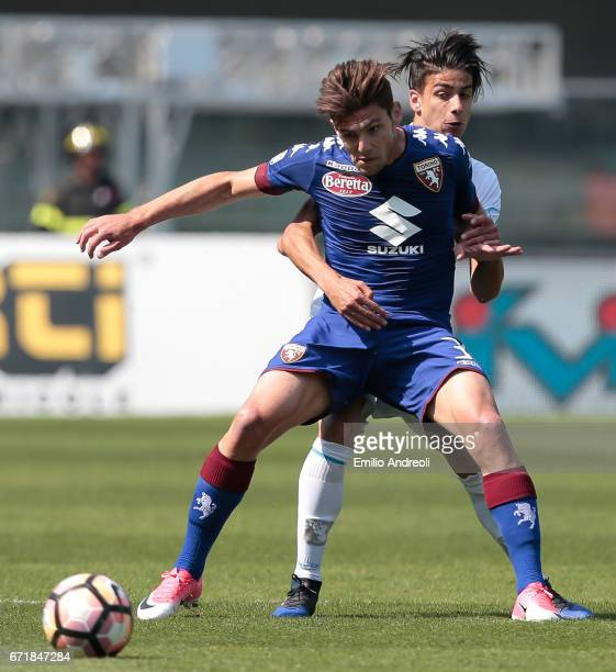 Lucas Ariel Boye of Torino FC competes for the ball with Fabio Depaoli of AC ChievoVerona during the Serie A match between AC ChievoVerona and FC...