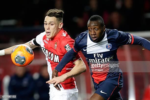 Lucas Ariel Ocampos of AS Monaco Blaise Matuidi of Paris Saint Germain during the France Ligue 1 match between AS Monaco and Paris SaintGermain at...