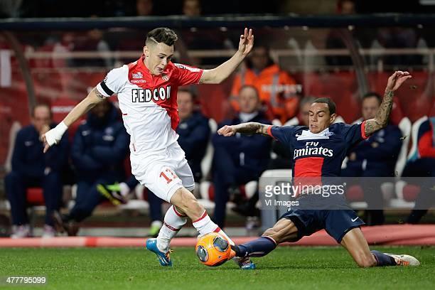 Lucas Ariel Ocampos of AS Monaco Gregory van der Wiel of Paris Saint Germain during the France Ligue 1 match between AS Monaco and Paris SaintGermain...