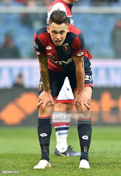 Lucas Ariel Ocampos of Genoa during the Serie A match between Genoa CFC and FC Crotone at Stadio Luigi Ferraris on January 22 2017 in Genoa Italy