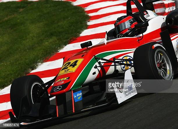 Lucas Auer of Austria drives the Prema Powerteam Dallara F312 Mercedes during the FIA European Formula 3 Championship race at the Brands Hatch...