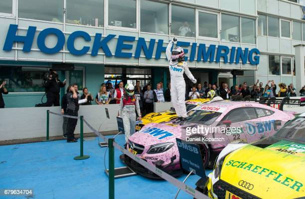 Lucas Auer of MercedesAMG Motorsport BWT celebrates after winning race 1 of the DTM German Touring Car Hockenheim at Hockenheimring on May 6 2017 in...