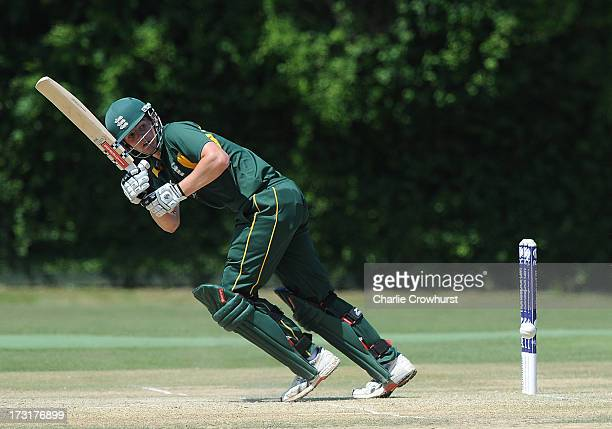 Lucas Barker of Guernsey during the European Division 1 Championship Group A match between Austria and Guernsey at Preston Nomads Cricket Club on...