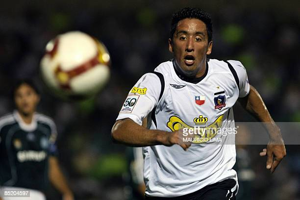 Lucas Barrios of Chile's Colo Colo runs for the ball during their Libertadores Cup football match against Brazil's Palmeiras held at Palestra Italia...