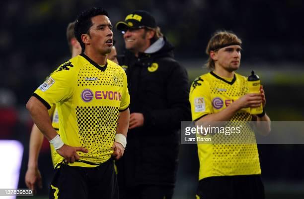 Lucas Barrios of Dormtund is seen after winning the Bundesliga match between Borussia Dortmund and 1899 Hoffenheim at Signal Iduna Park on January 28...