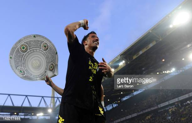 Lucas Barrios of Dortmund celebrates after winning the Bundesliga match between Borussia Dortmund and Borussia Moenchengladbach at Signal Iduna Park...