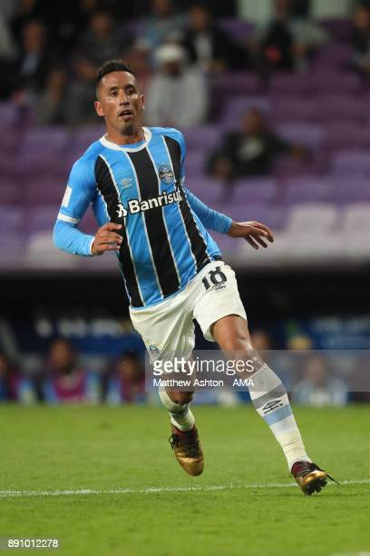Lucas Barrios of Gremio FBPA in action during the FIFA Club World Cup UAE 2017 semifinal match between Gremio FBPA and CF Pachuca at Hazza Bin Zayed...
