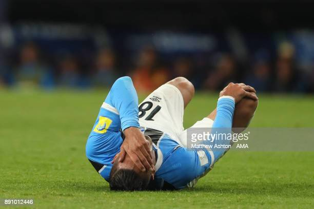 Lucas Barrios of Gremio FBPA reacts during the FIFA Club World Cup UAE 2017 semifinal match between Gremio FBPA and CF Pachuca at Hazza Bin Zayed...