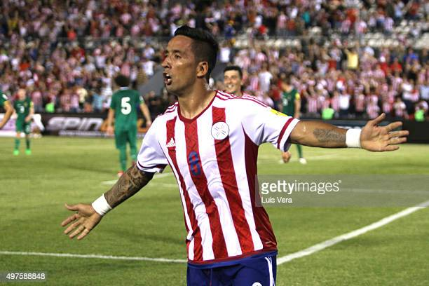 Lucas Barrios of Paraguay celebrates after scoring the second goal of his team during a match between Paraguay and Bolivia as part of FIFA 2018 World...