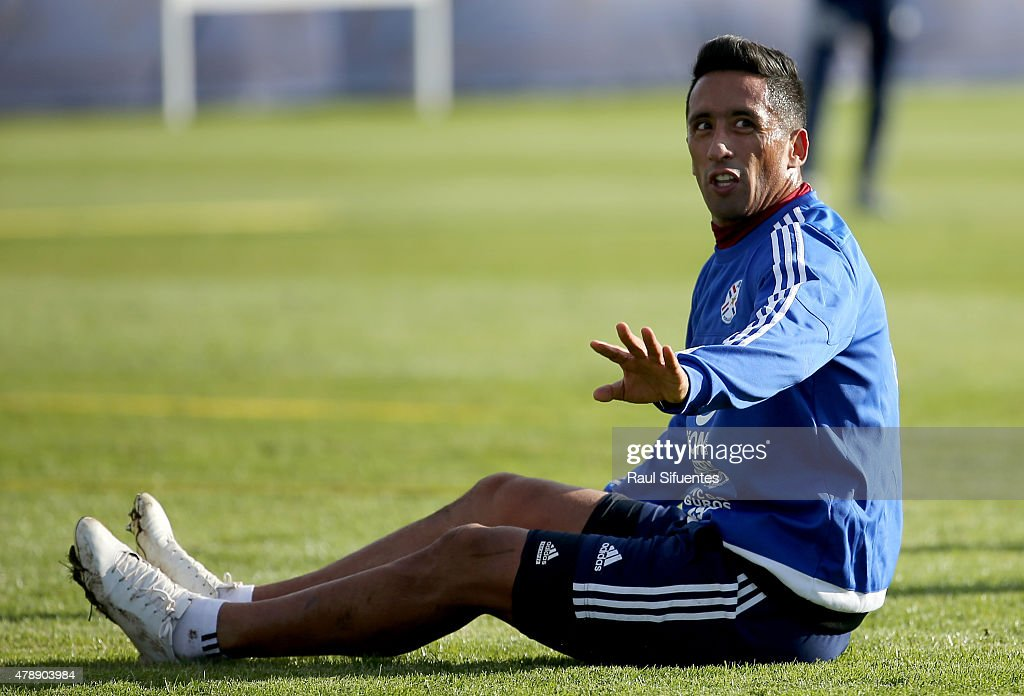 <a gi-track='captionPersonalityLinkClicked' href=/galleries/search?phrase=Lucas+Barrios&family=editorial&specificpeople=4142497 ng-click='$event.stopPropagation()'>Lucas Barrios</a> of Paraguay gestures during a training session at ENAP training camp as part of 2015 Copa America Chile on June 28, 2015 in Concepcion, Chile.