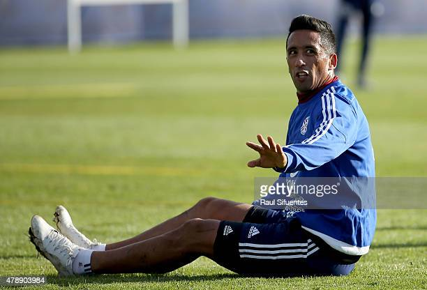 Lucas Barrios of Paraguay gestures during a training session at ENAP training camp as part of 2015 Copa America Chile on June 28 2015 in Concepcion...