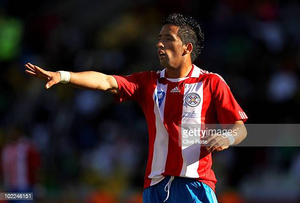 Lucas Barrios of Paraguay gestures during the 2010 FIFA World Cup South Africa Group F match between Slovakia and Paraguay at the Free State Stadium...