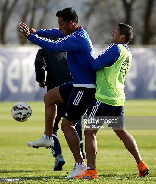 Lucas Barrios of Paraguay in action during a training session at ENAP training camp as part of 2015 Copa America Chile on June 28 2015 in Concepcion...