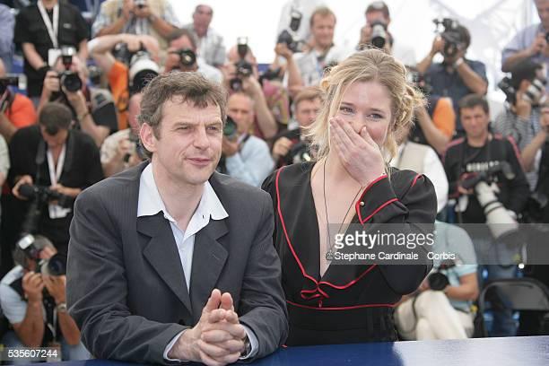 Lucas Belvaux and Natacha Regnier at the photo call of 'La Raison du plus faible' during the 59th Cannes Film Festival