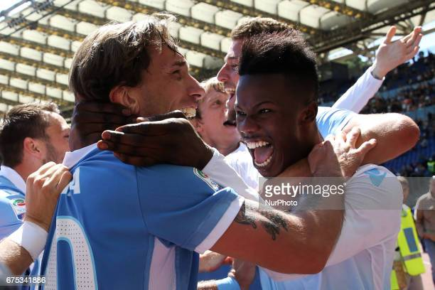 Lucas Biglia and Balde Diao Keita of Lazio celebration during the Serie A match between AS Roma and SS Lazio at Stadio Olimpico on April 30 2017 in...