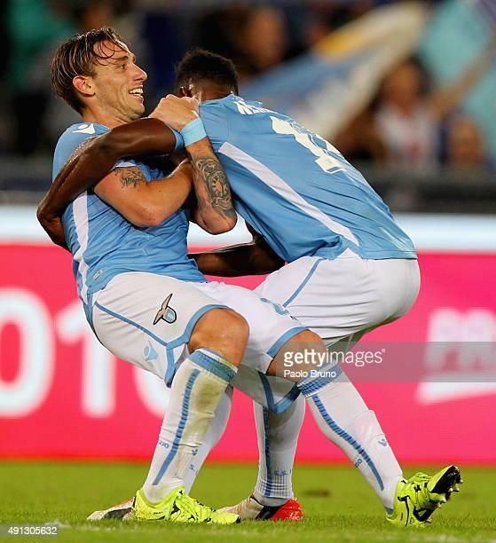 Lucas Biglia and Diao Keita Balde of SS Lazio celebrates the victory after the Serie A match between SS Lazio and Frosinone Calcio at Stadio Olimpico...