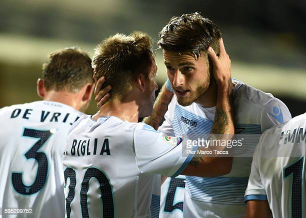 Lucas Biglia and Wesley Hoedt celebrate the second goal during the Serie A match between Atalanta BC and SS Lazio at Stadio Atleti Azzurri d'Italia...