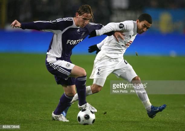 Lucas Biglia Anderlecht and Aaron Lennon Tottenham Hotspur battle for the ball