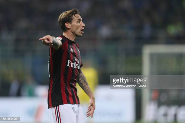 Lucas Biglia of AC Milan during the Serie A match between FC Internazionale and AC Milan at Stadio Giuseppe Meazza on October 15 2017 in Milan Italy