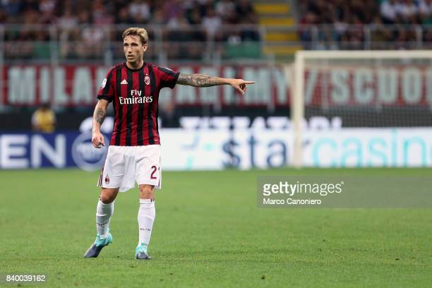 Lucas Biglia of Ac Milan gestures during the Serie A football match between AC Milan and Cagliari Calcio Ac Milan wins 21 over Cagliari Calcio