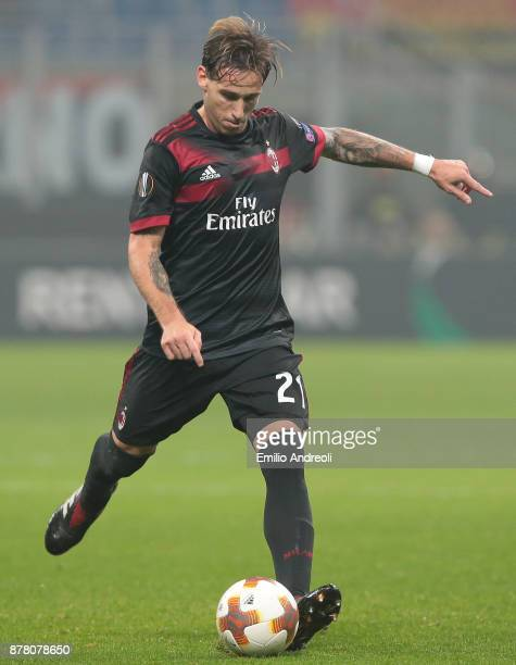 Lucas Biglia of AC Milan in action during the UEFA Europa League group D match between AC Milan and Austria Wien at Stadio Giuseppe Meazza on...
