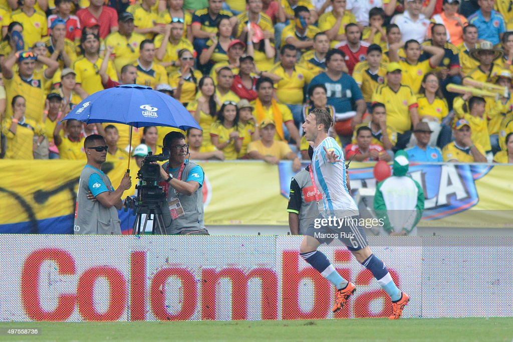 Lucas Biglia of Argentina celebrates after scoring the opening goal during a match between Colombia and Argentina as part of FIFA 2018 World Cup Qualifiers at Metropolitano Stadium on November 17, 2015 in Barranquilla, Colombia.