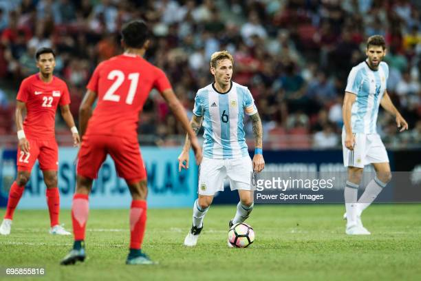 Lucas Biglia of Argentina in action during the International Test match between Argentina and Singapore at National Stadium on June 13 2017 in...