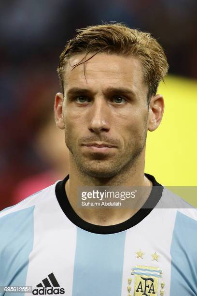 Lucas Biglia of Argentina lines up on the pitch during the International Test match between Argentina and Singapore at National Stadium on June 13...