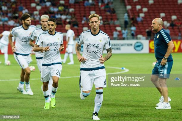 Lucas Biglia of Argentina warming up during the International Test match between Argentina and Singapore at National Stadium on June 13 2017 in...