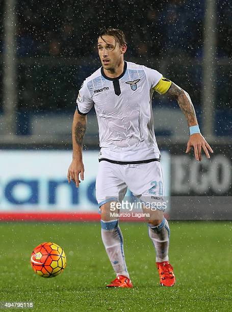 Lucas Biglia of Lazio during the Serie A match between Atalanta BC and SS Lazio at Stadio Atleti Azzurri d'Italia on October 28 2015 in Bergamo Italy