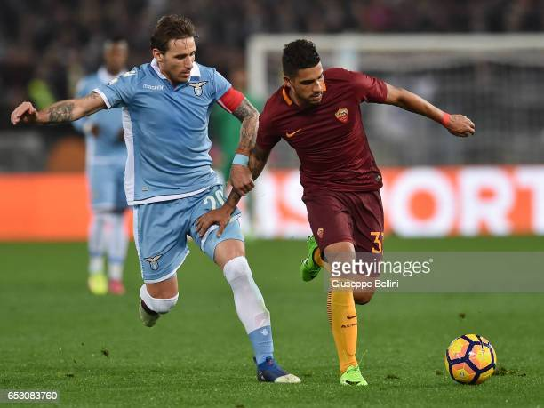 Lucas Biglia of SS Lazio and Palmieri Dos Santos Emerson of AS Roma in action during the TIM Cup match between SS Lazio and AS Roma at Olimpico...