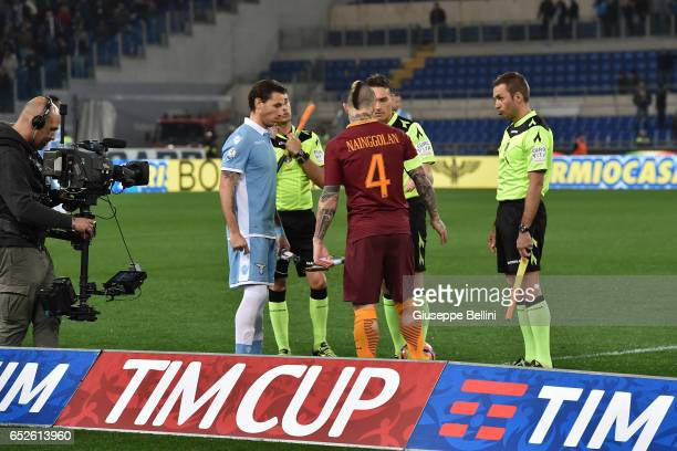 Lucas Biglia of SS Lazio and Radja Nainggolan of AS Roma prior the TIM Cup match between SS Lazio and AS Roma at Olimpico Stadium on March 1 2017 in...